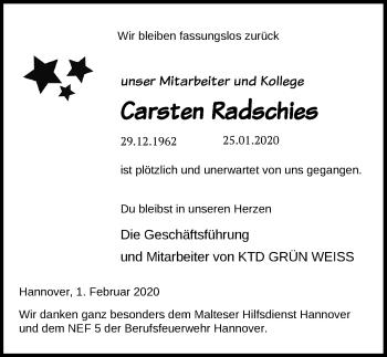 Carsten-Radschies-Traueranzeige
